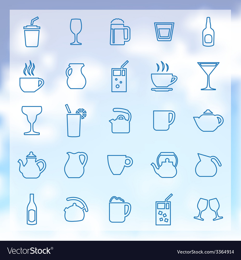 25 drinks icons set vector | Price: 1 Credit (USD $1)