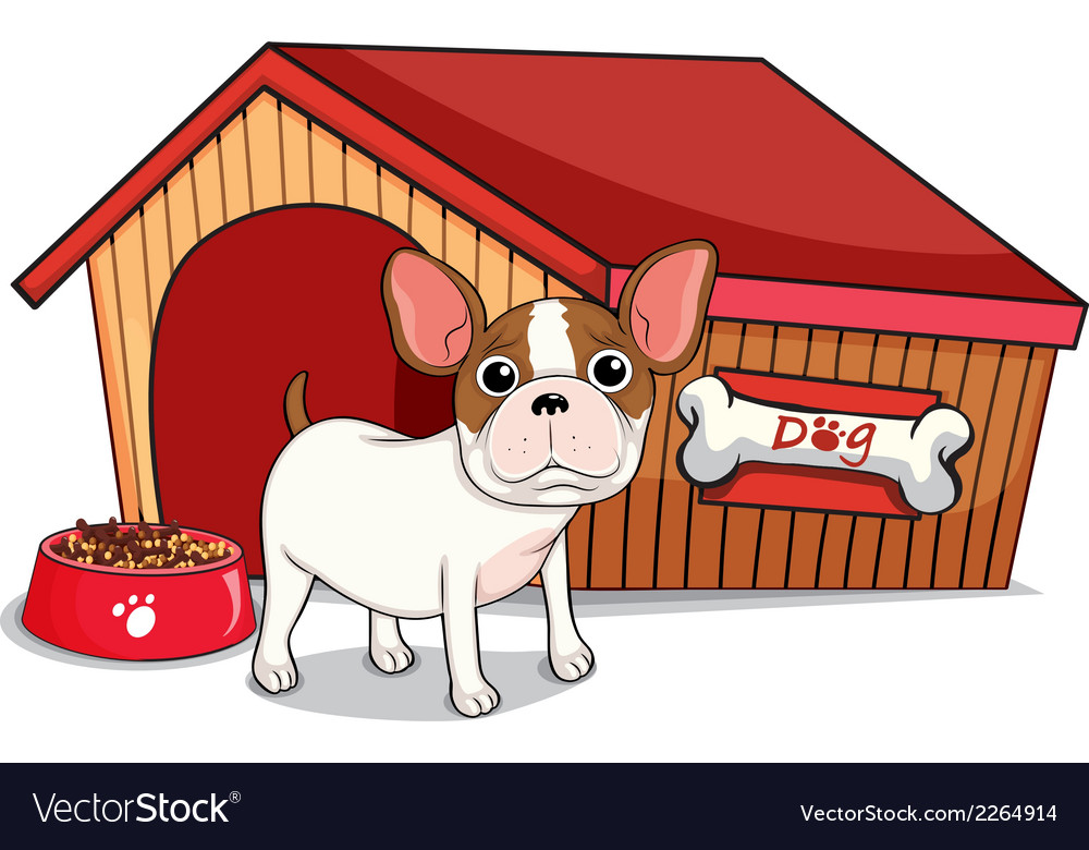A young bulldog outside the doghouse vector | Price: 1 Credit (USD $1)