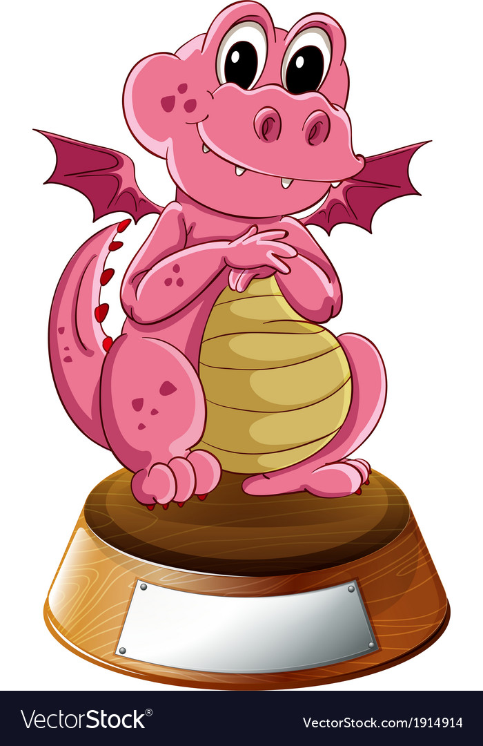 A young dragon above the trophy stand with an vector | Price: 3 Credit (USD $3)