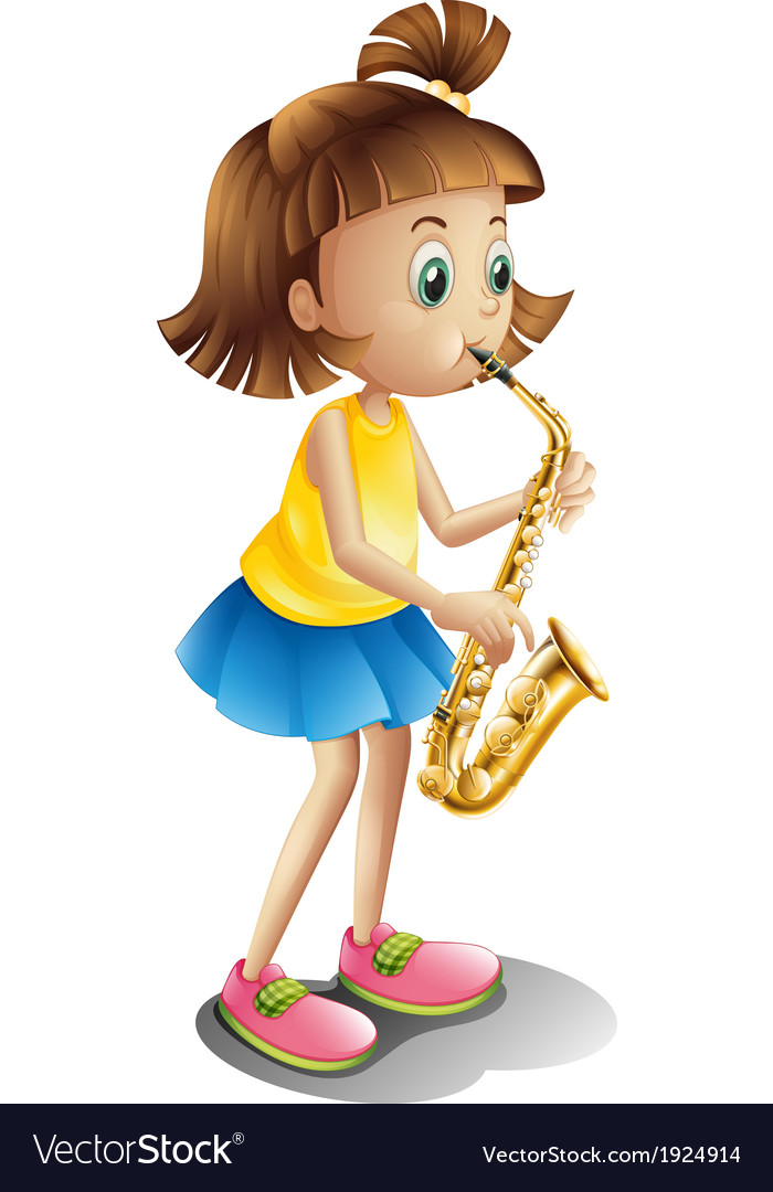 A young lady playing with the saxophone vector | Price: 3 Credit (USD $3)