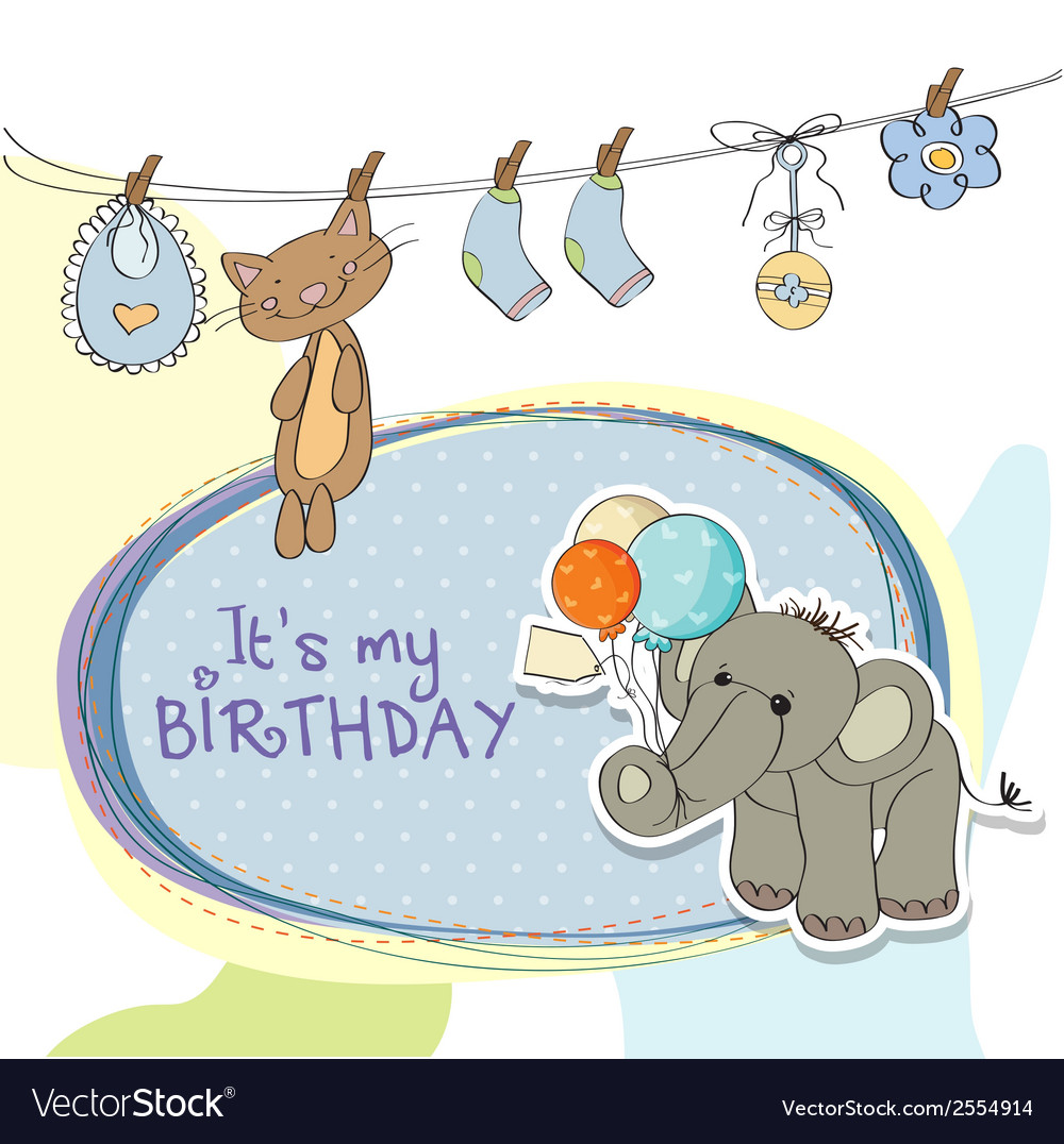 Baby boy birthday card with elephant vector | Price: 1 Credit (USD $1)