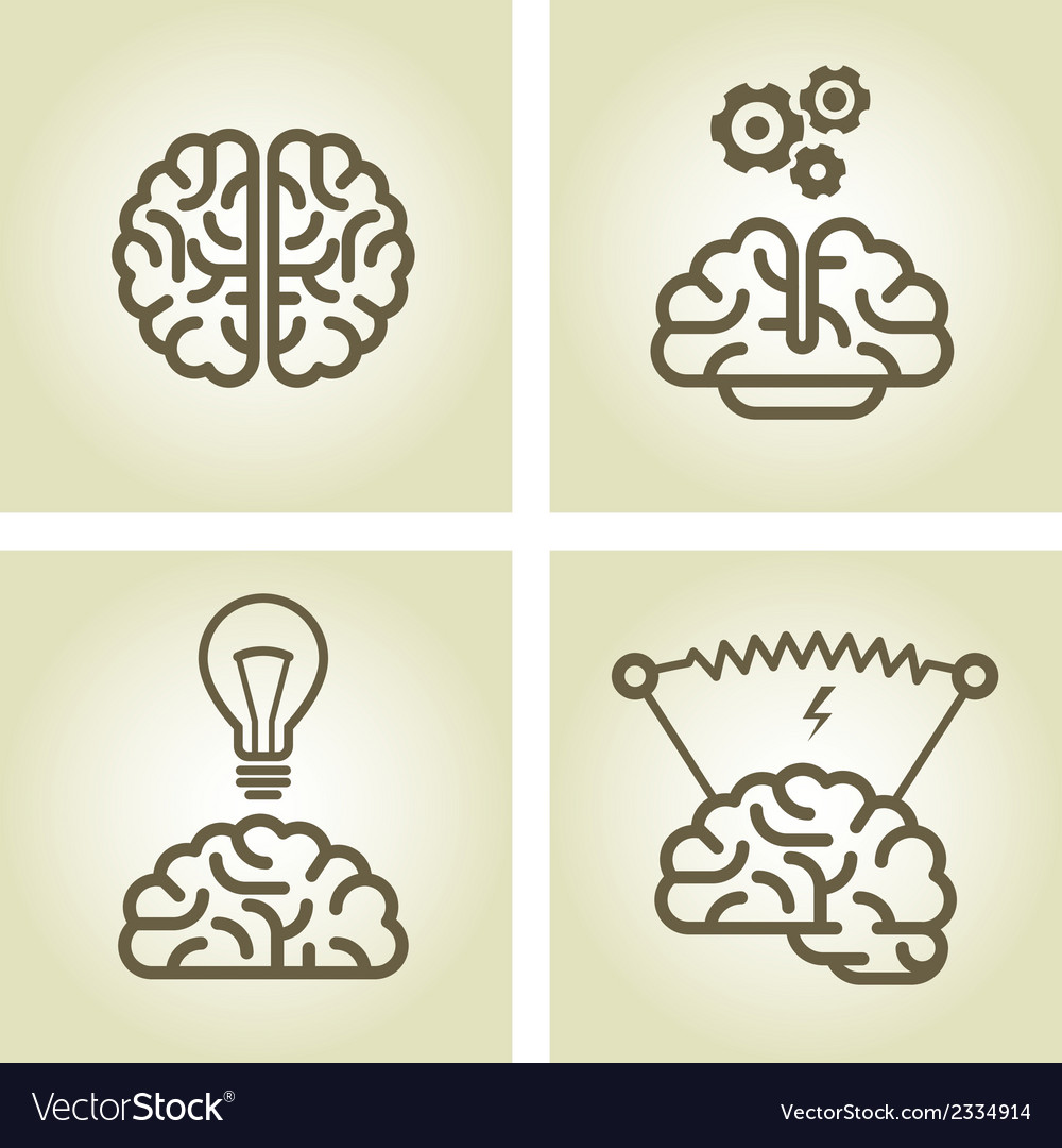 Brain icon - invention and inspiration symbols vector