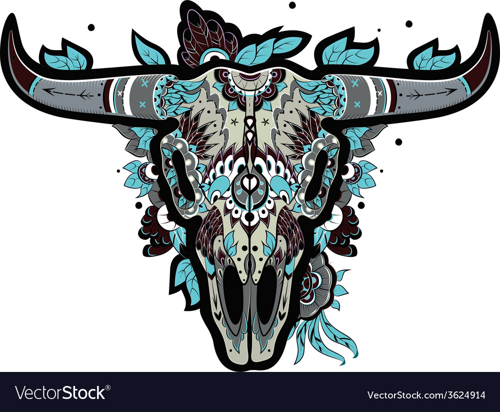 Buffalo skull cool vector | Price: 3 Credit (USD $3)