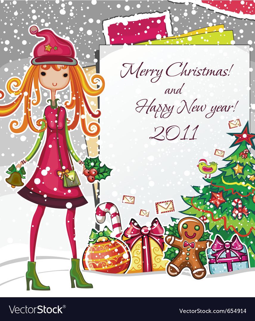 Christmas fashion girl 1 vector | Price: 5 Credit (USD $5)