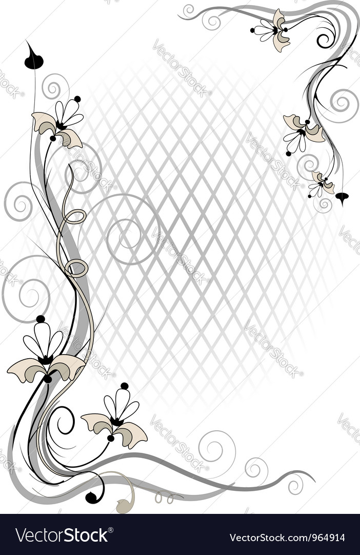 Corner twig and flower vector | Price: 1 Credit (USD $1)