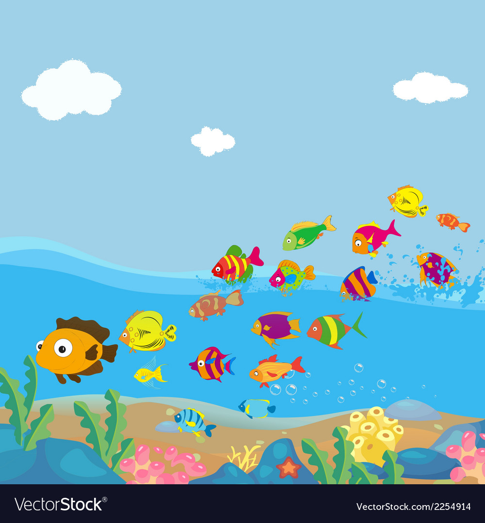 Family of funny fish under the sea vector | Price: 1 Credit (USD $1)