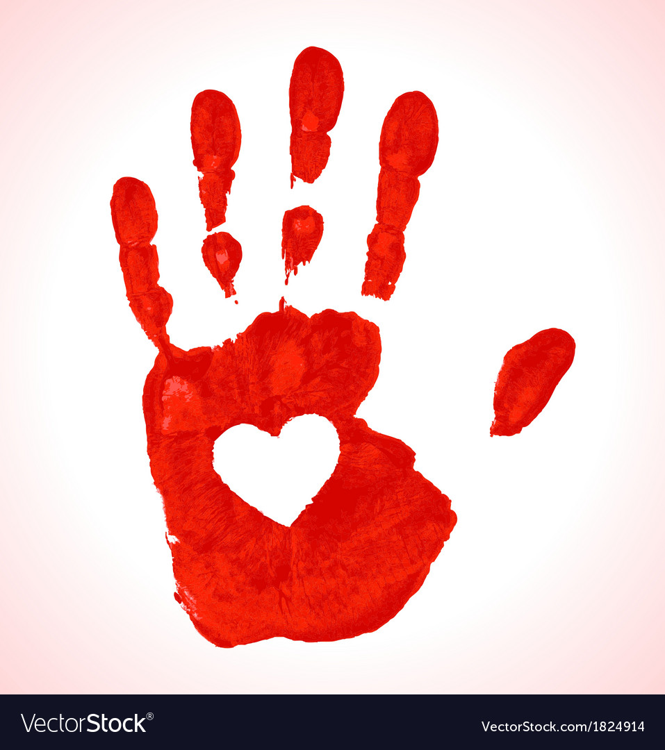 Hand print with heart icon vector | Price: 1 Credit (USD $1)