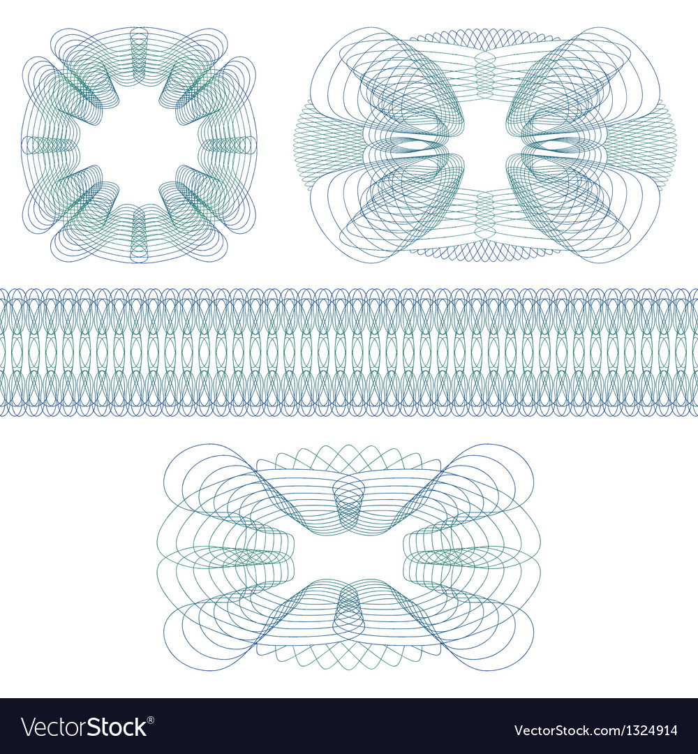 Set of decorative guilloche rosettes vector | Price: 1 Credit (USD $1)