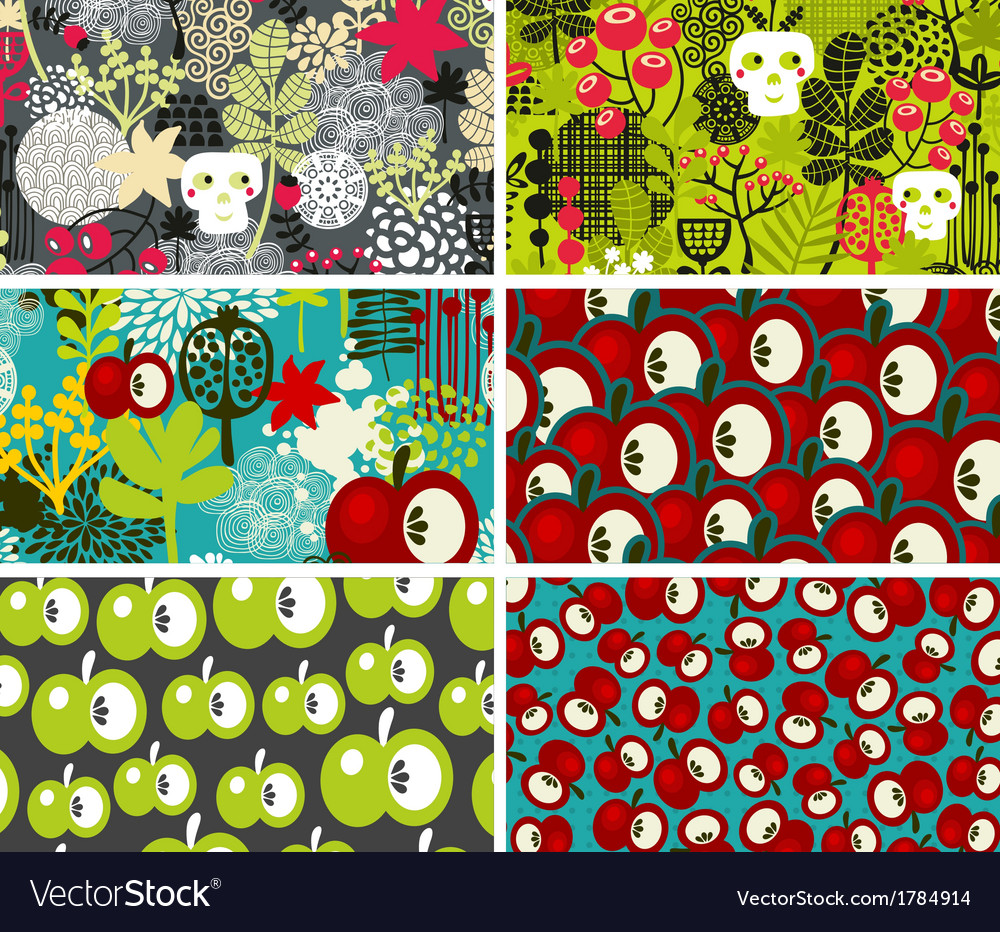 Set of six cards with skulls and apples vector | Price: 1 Credit (USD $1)