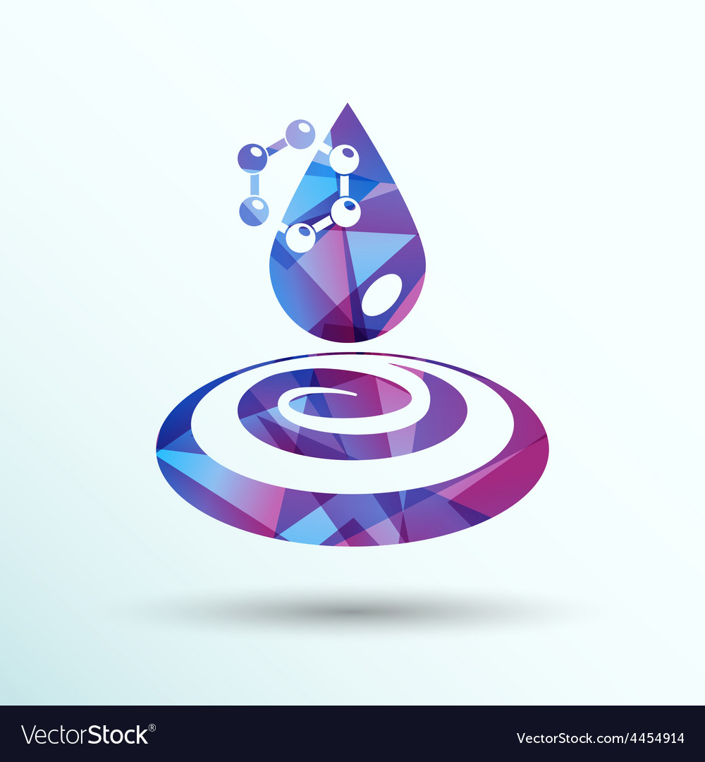 Water molecule water chemistry atom symbol icon vector | Price: 1 Credit (USD $1)
