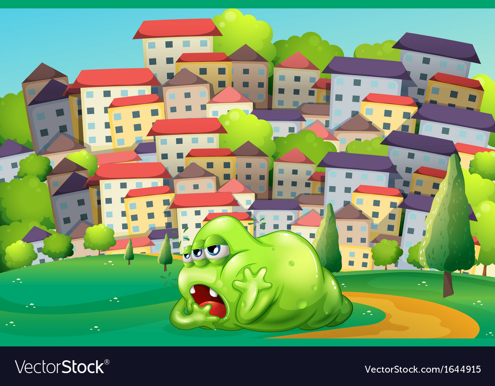 A monster resting at the hilltop across the vector | Price: 3 Credit (USD $3)