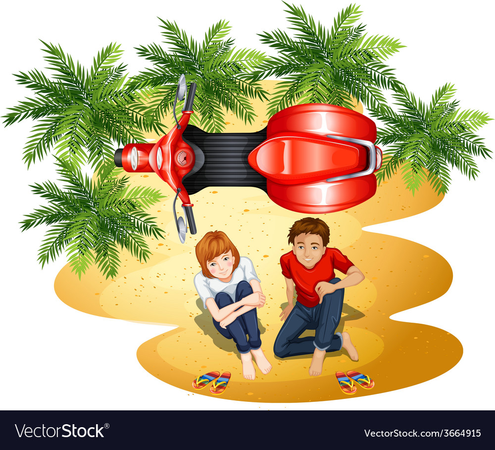 A topview of a boy and a girl near the motorcycle vector   Price: 1 Credit (USD $1)