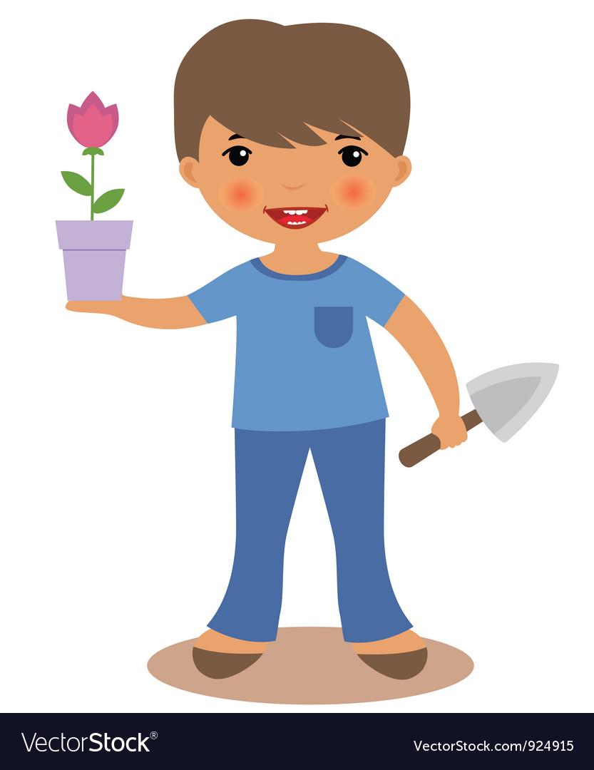 Boy gardening vector | Price: 1 Credit (USD $1)