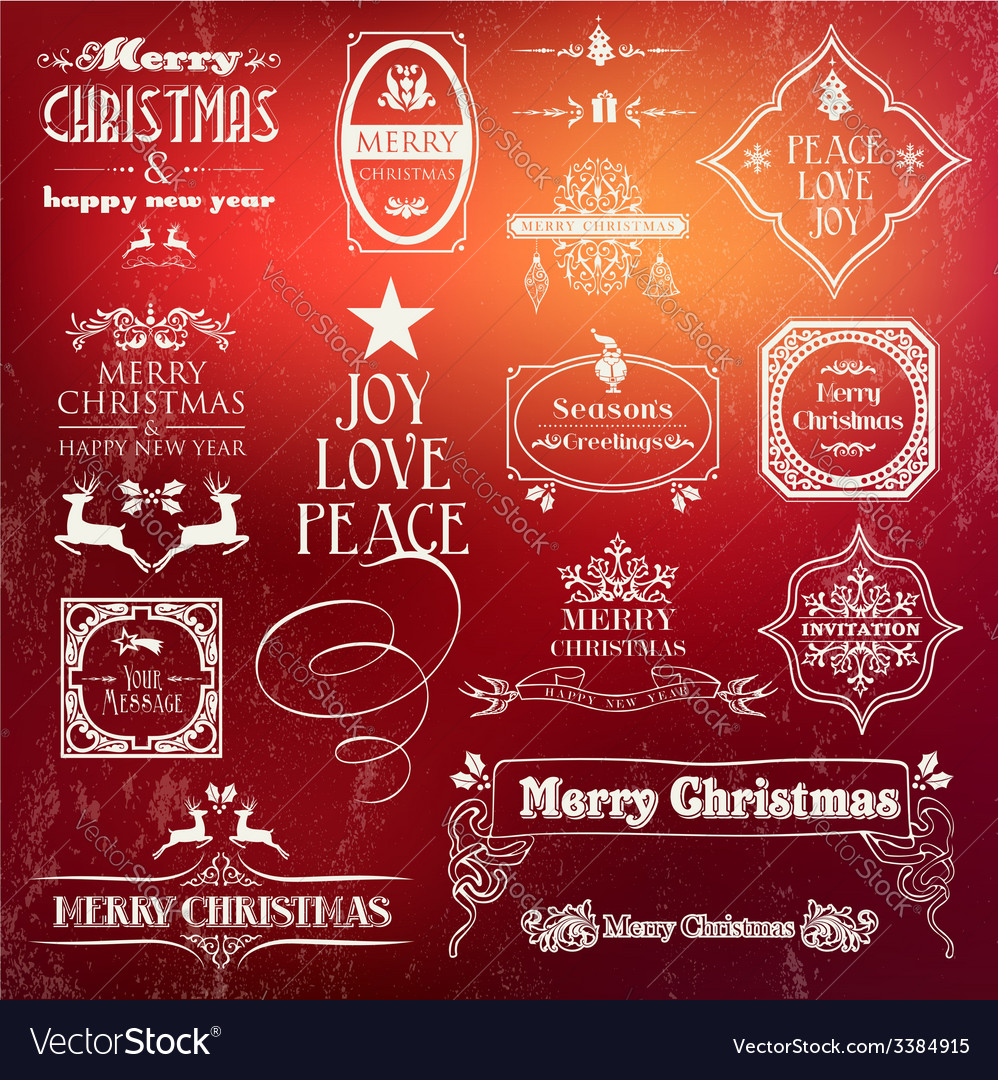 Christmas vintage label set vector | Price: 1 Credit (USD $1)