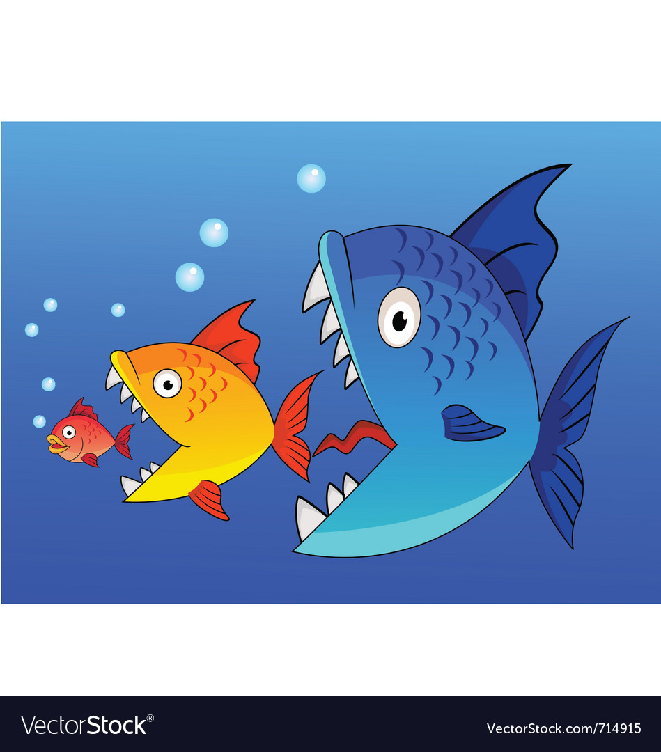 Fish eat fish vector | Price: 1 Credit (USD $1)