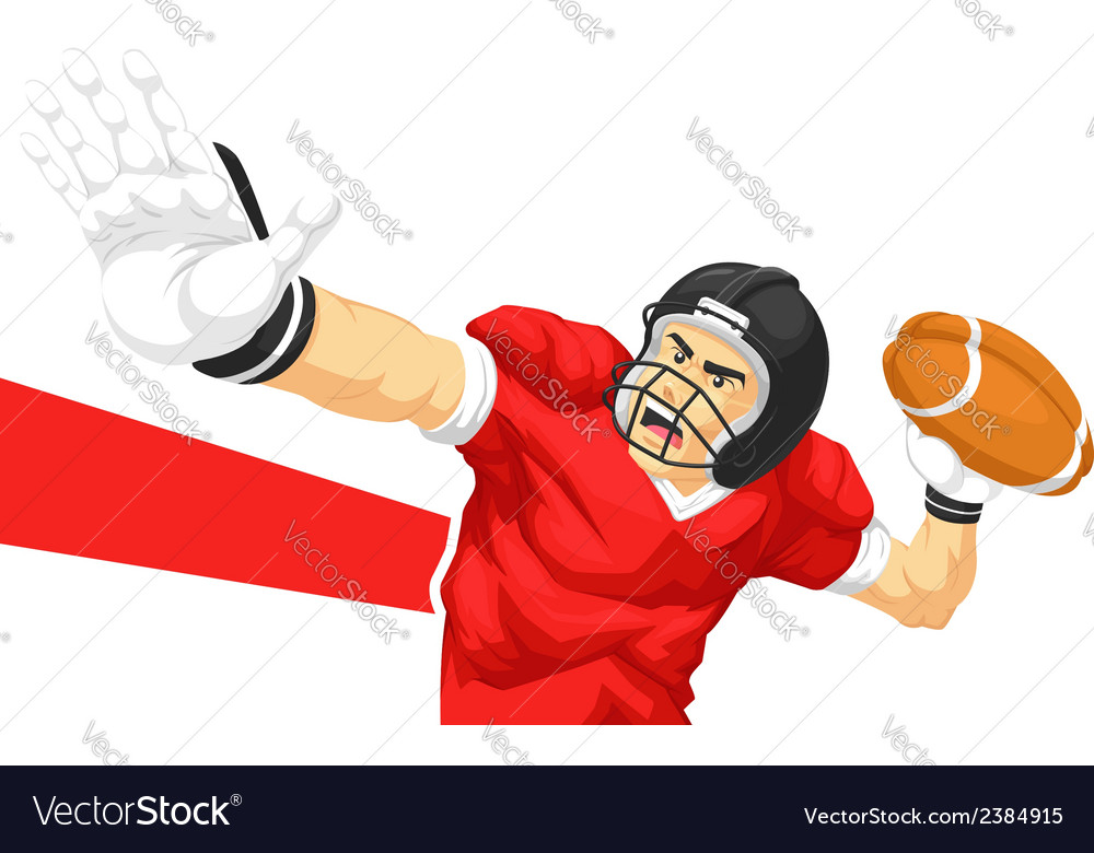 Football player quarterback throwing ball vector | Price: 1 Credit (USD $1)
