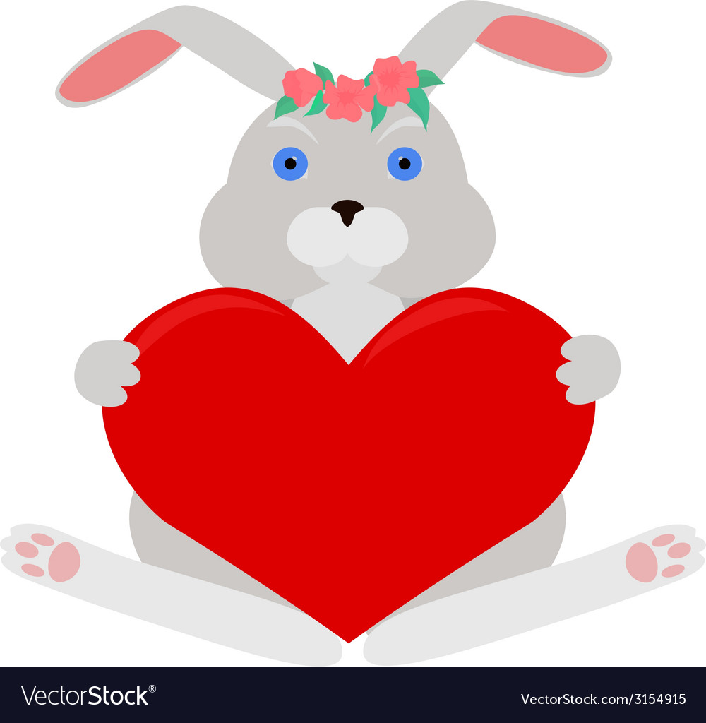 Gray rabbit with red heart vector | Price: 1 Credit (USD $1)