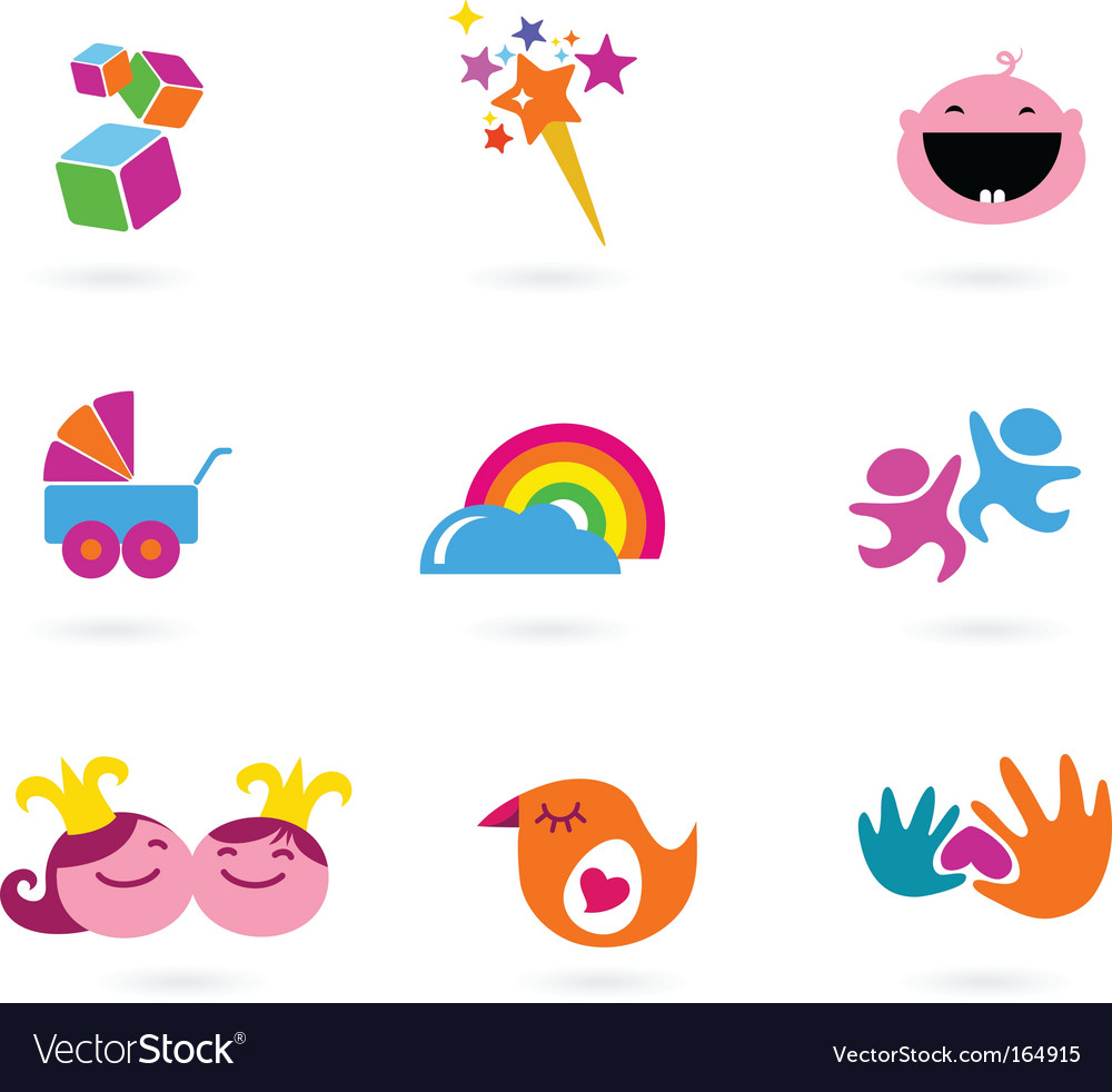 Kids icons playing and toys vector | Price: 1 Credit (USD $1)