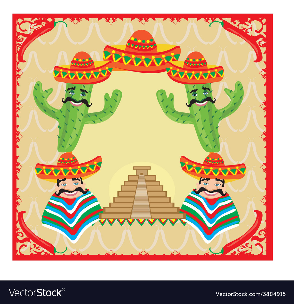 Mexican frame with pyramid cactus and sombrero vector | Price: 1 Credit (USD $1)