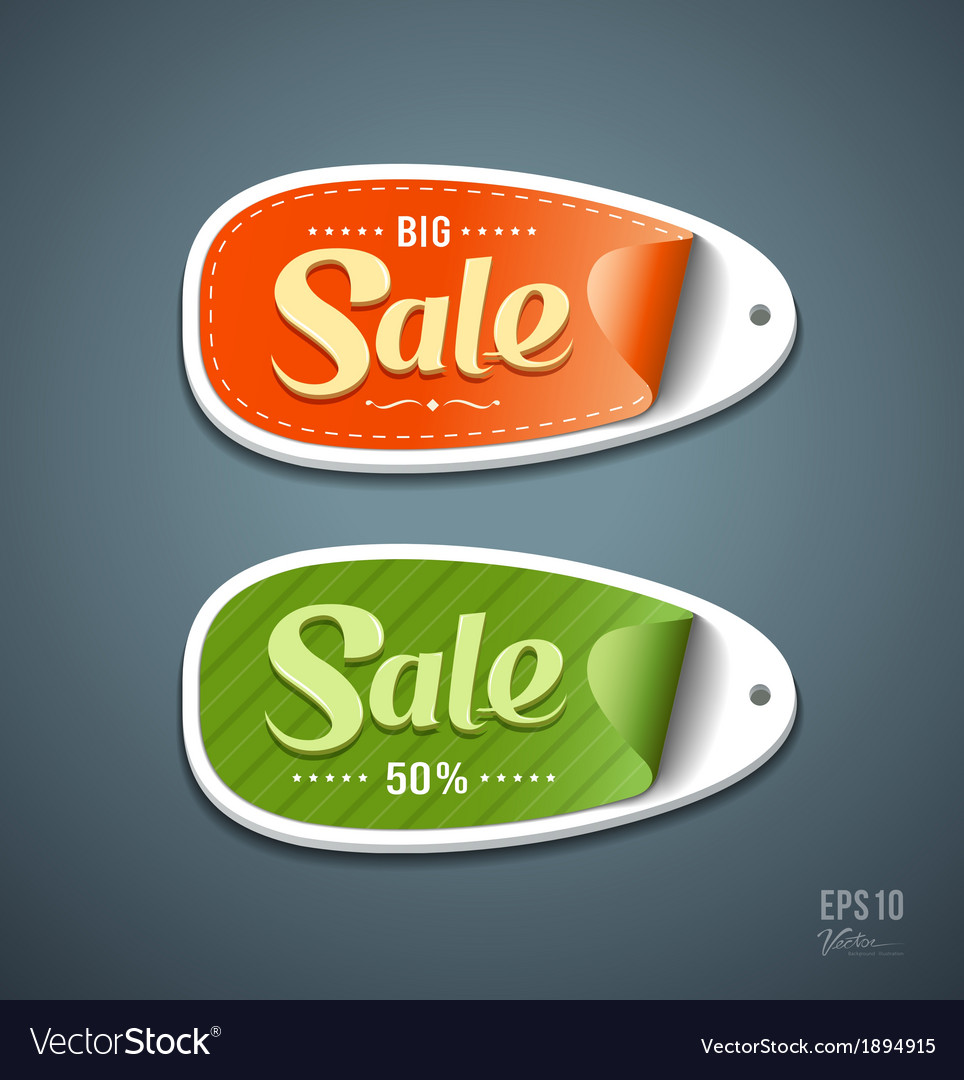Orange and green labels paper for sale vector | Price: 1 Credit (USD $1)