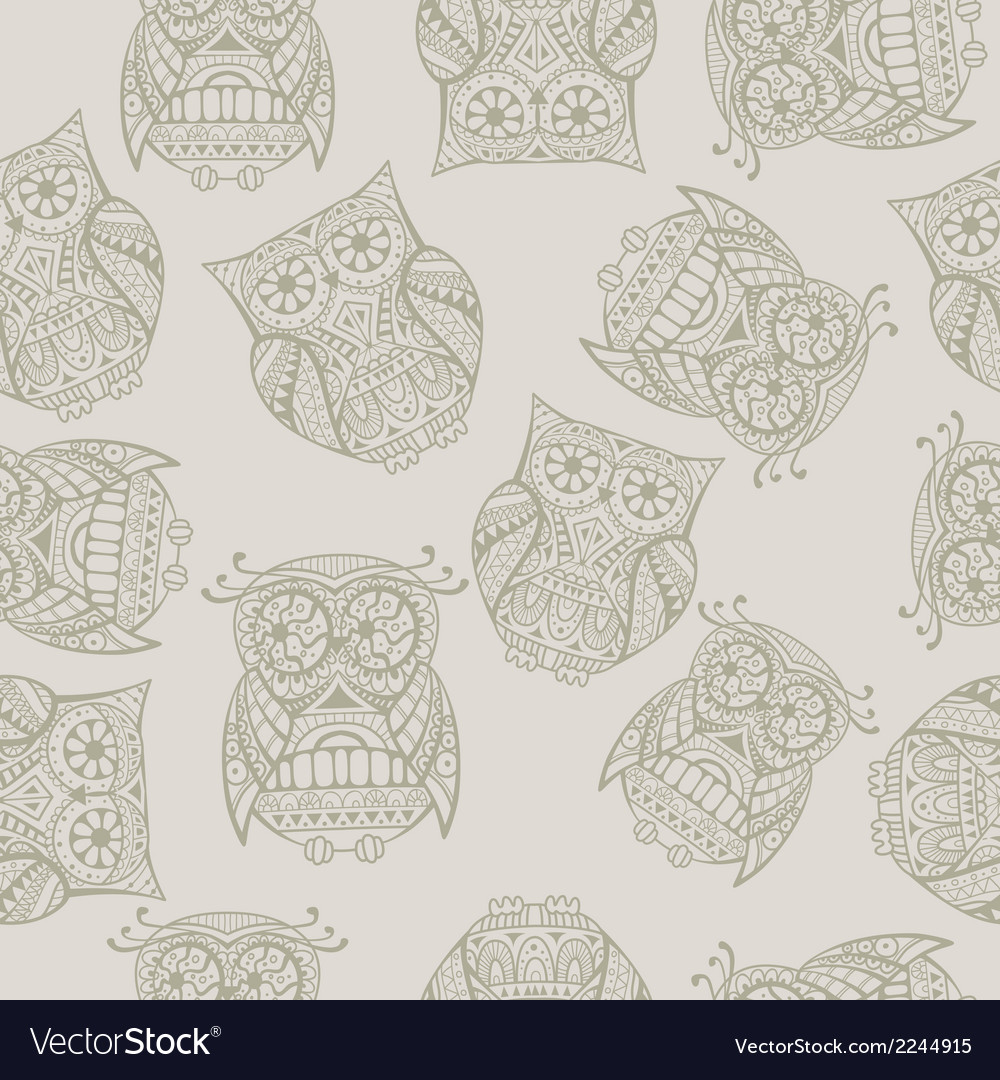 Seamless pattern with decorative owl vector | Price: 1 Credit (USD $1)