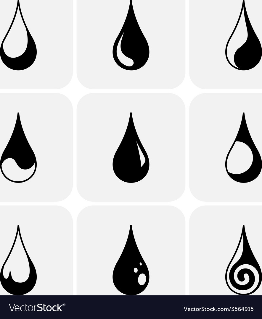 Set of water drops of different kind vector | Price: 1 Credit (USD $1)