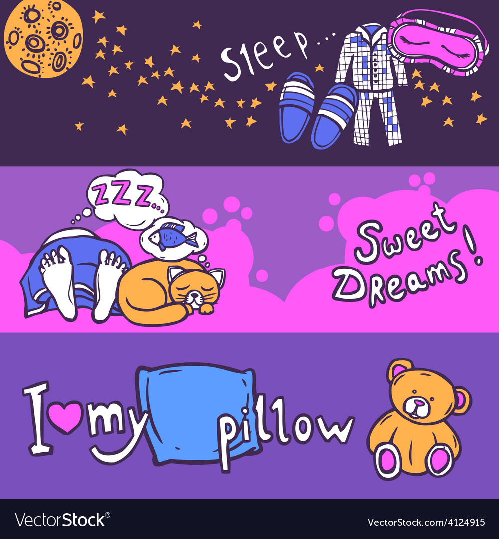 Sleep time banner set vector | Price: 1 Credit (USD $1)