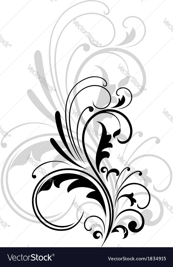 Vintage swirling foliate design element vector | Price: 1 Credit (USD $1)