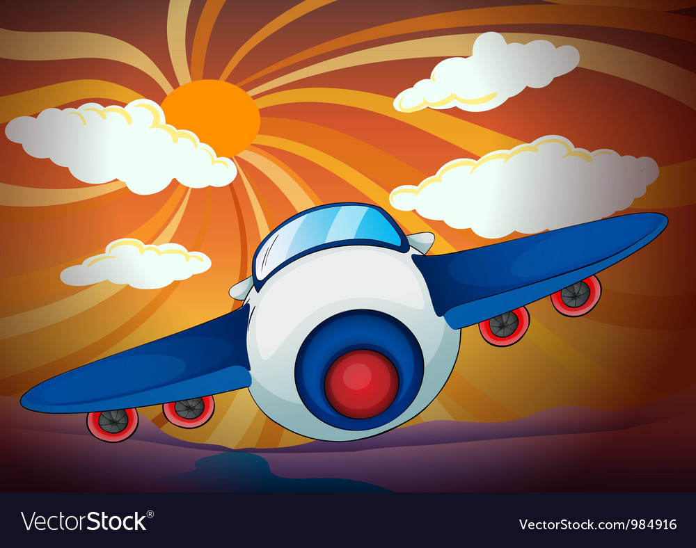 Aeroplane and sun rays vector | Price: 1 Credit (USD $1)