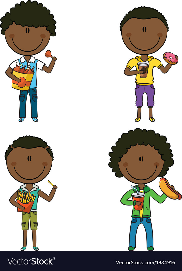 African-american boys with junk foods vector | Price: 3 Credit (USD $3)
