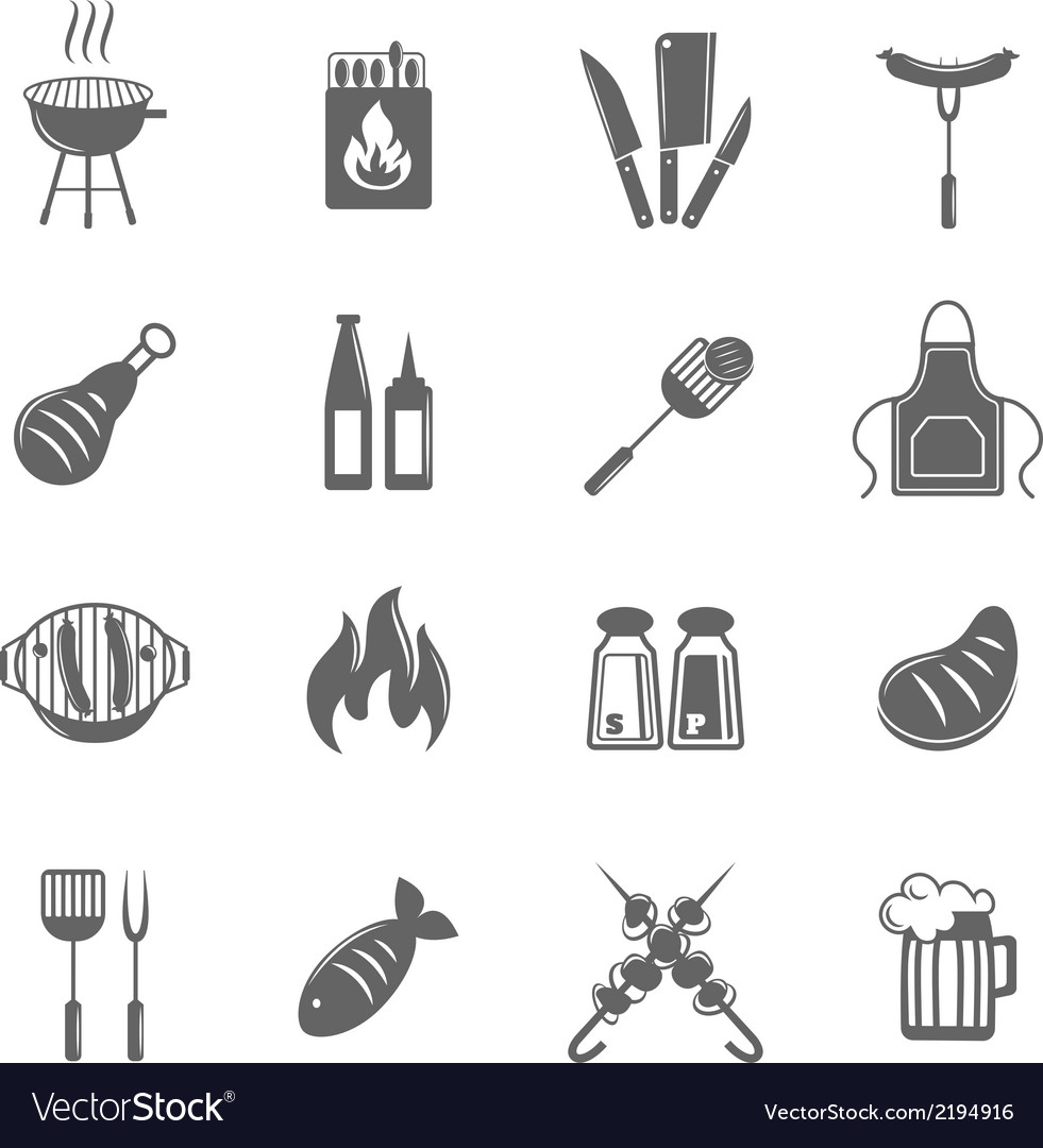 Bbq grill icons set vector | Price: 1 Credit (USD $1)