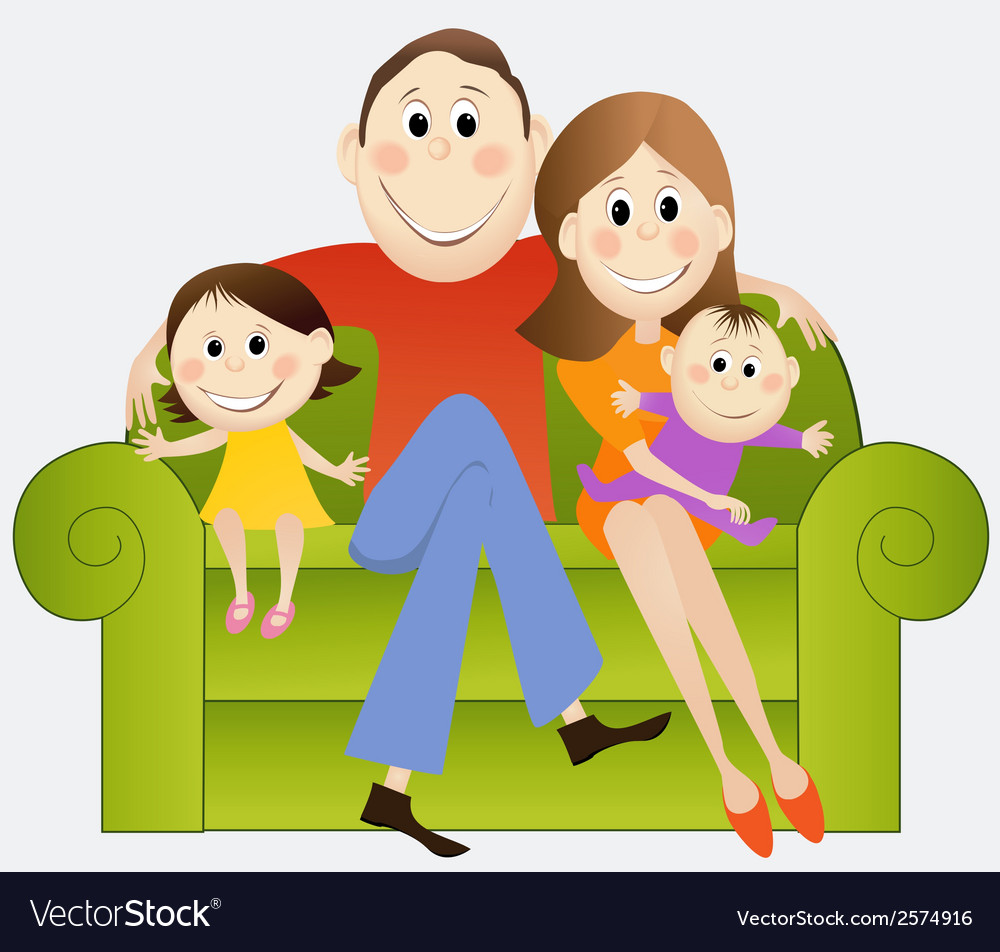 Cartoon happy family vector | Price: 1 Credit (USD $1)
