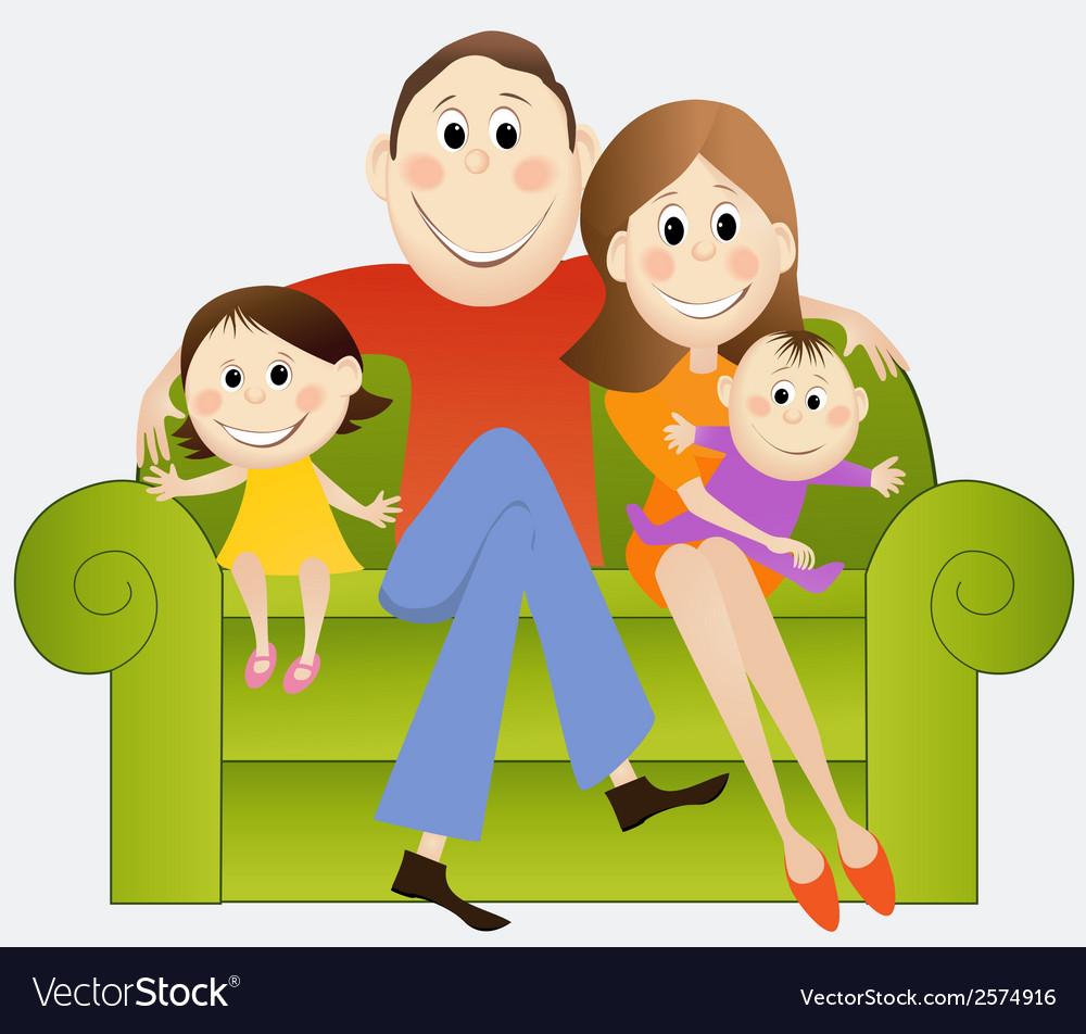 Cartoon happy family vector   Price: 1 Credit (USD $1)