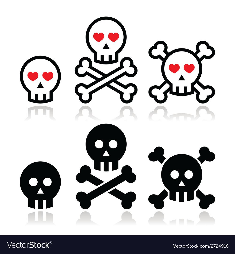 Cartoon skull with bones and hearts icon se vector | Price: 1 Credit (USD $1)