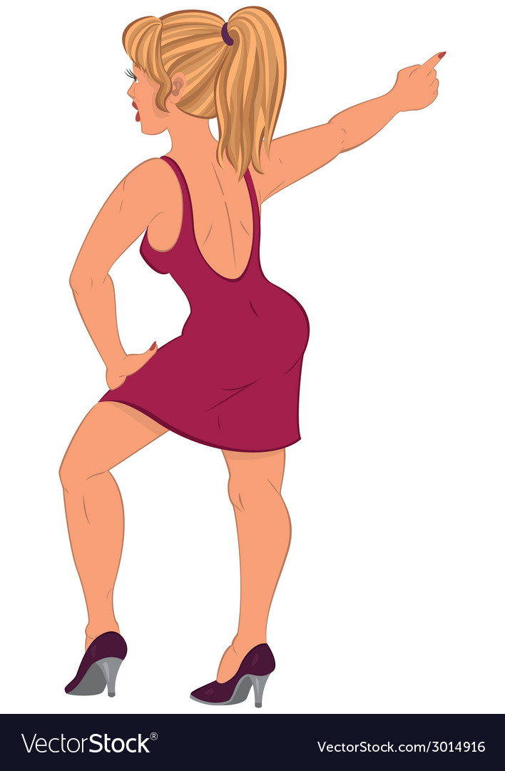 Cartoon woman in red dress pointing back view vector | Price: 1 Credit (USD $1)