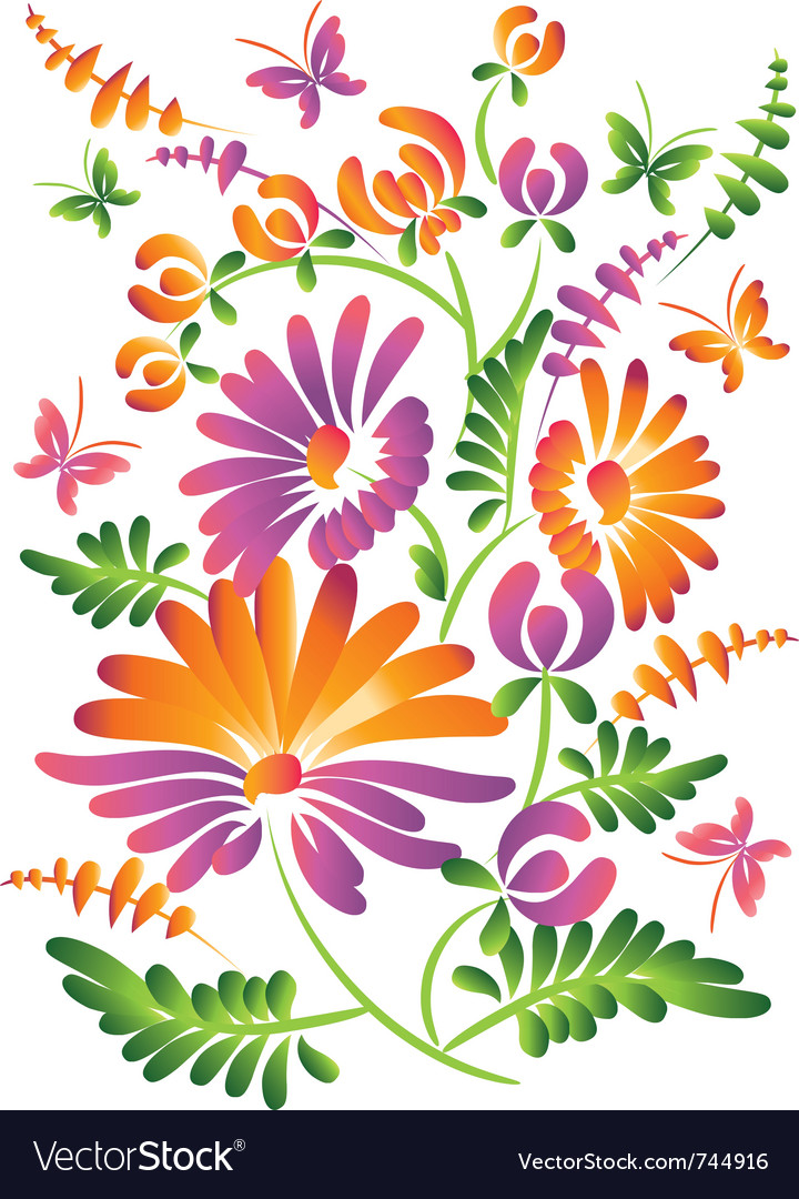 Folkstyle flowers vector | Price: 1 Credit (USD $1)