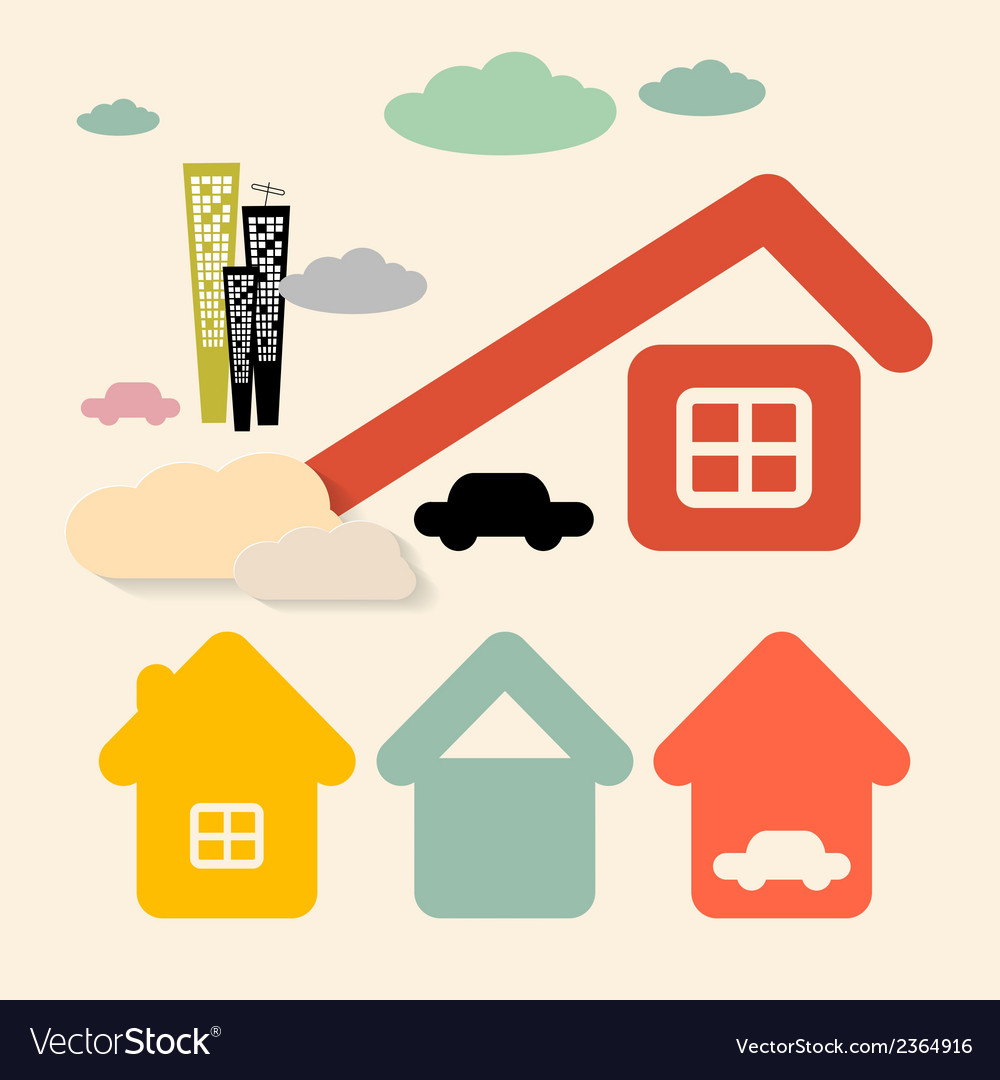 Houses and cars symbols set vector | Price: 1 Credit (USD $1)