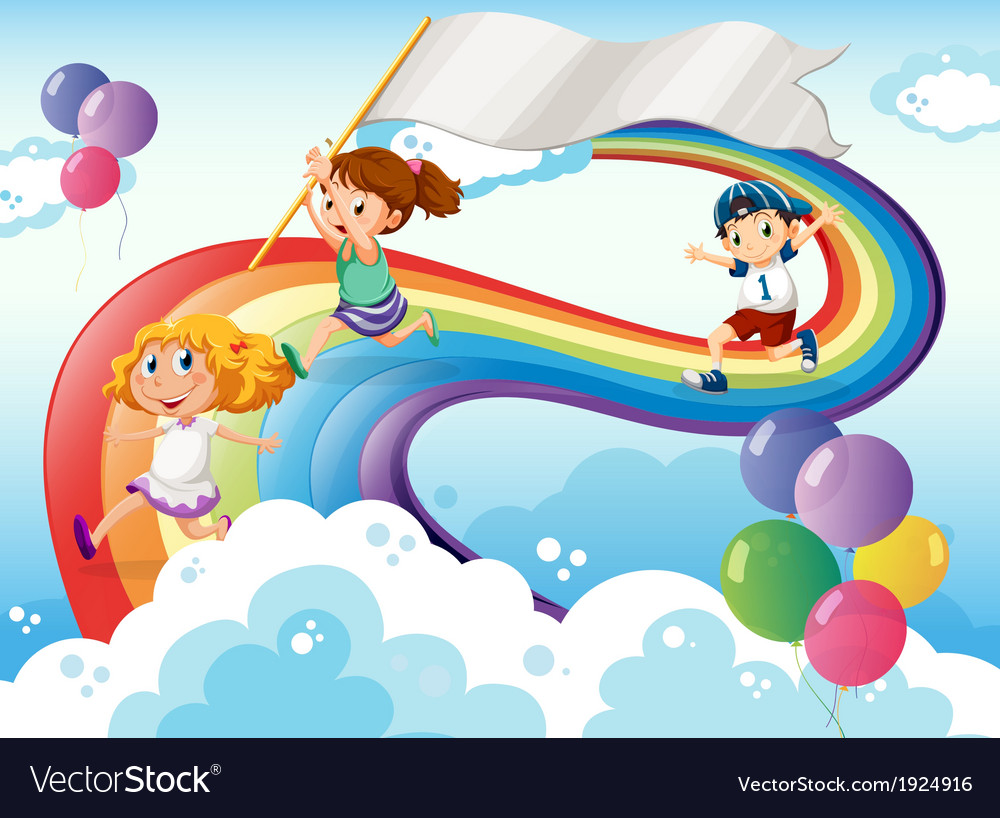 Kids playing above the rainbow with an empty vector | Price: 3 Credit (USD $3)