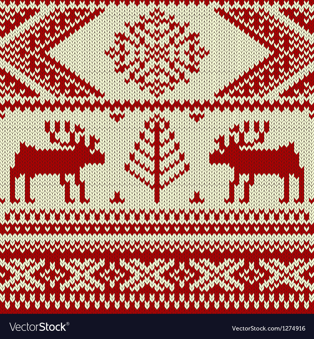 Knitted swatch with deers and snowflakes pattern vector | Price: 1 Credit (USD $1)