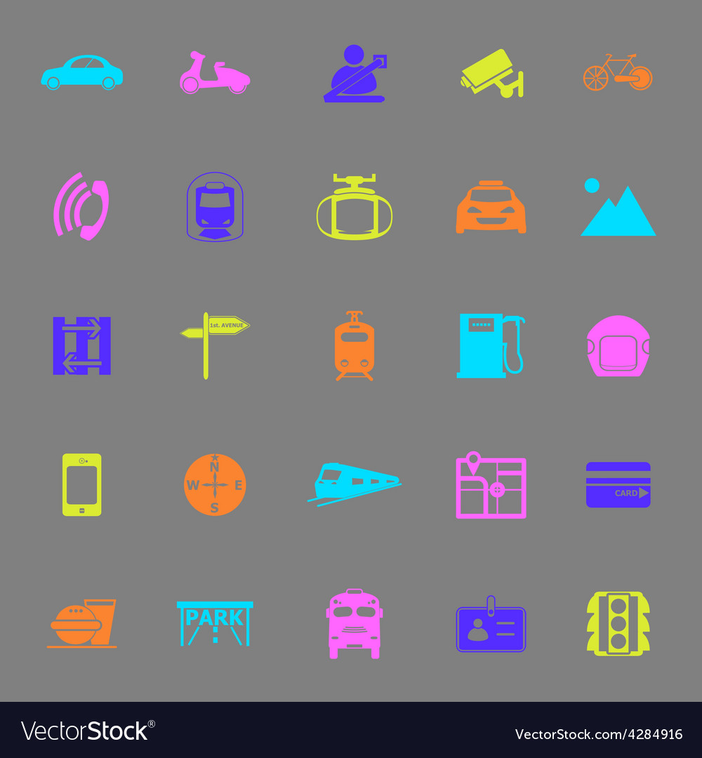 Land transport related color icons on gray vector | Price: 1 Credit (USD $1)
