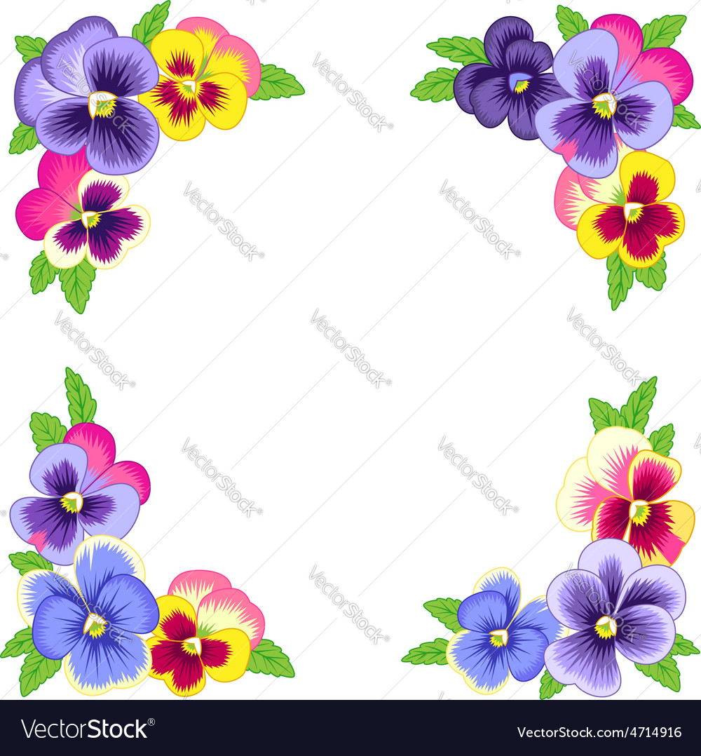 Pansy corners frame vector | Price: 1 Credit (USD $1)