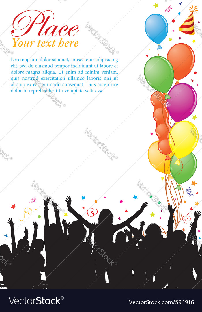 Party frame with balloons vector | Price: 1 Credit (USD $1)