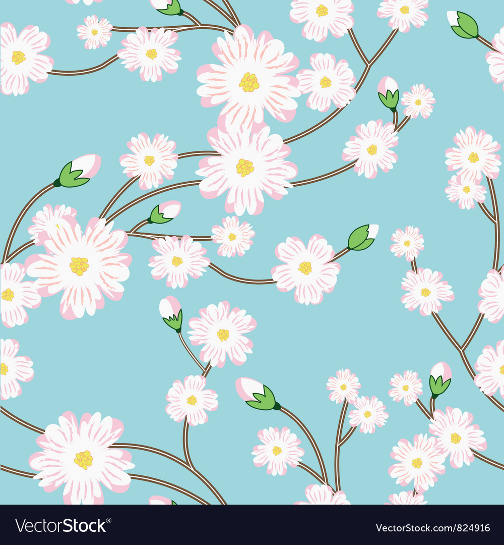 Seamless pattern with tree blossoming brunch vector | Price: 1 Credit (USD $1)