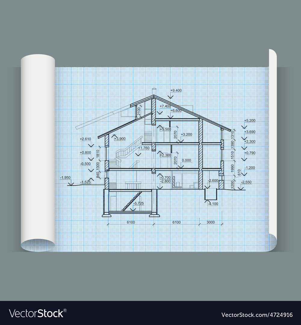 Sheet in expanded form with drawing house vector | Price: 1 Credit (USD $1)