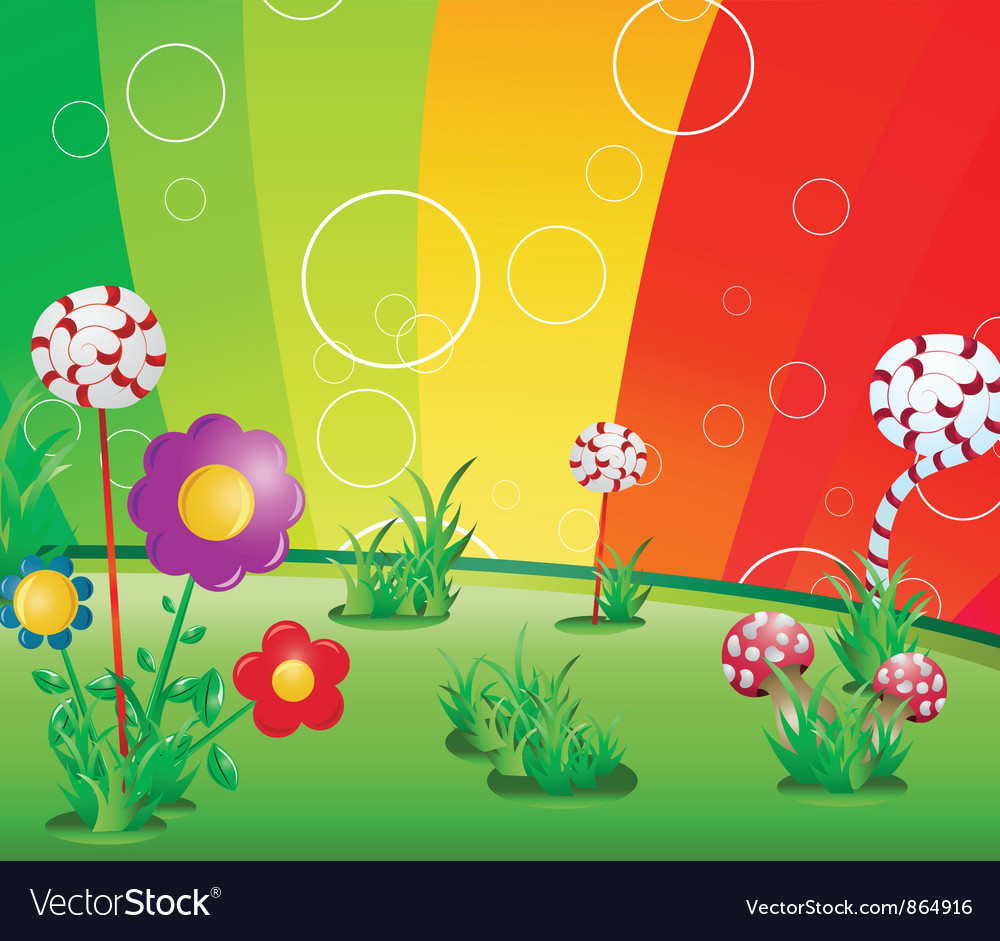 Spring floral background with rainbow vector | Price: 1 Credit (USD $1)