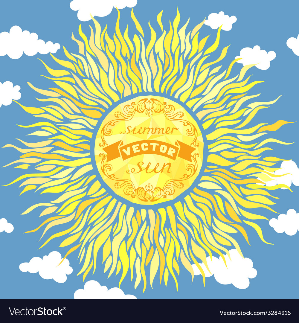 Sun in the sky vector | Price: 1 Credit (USD $1)