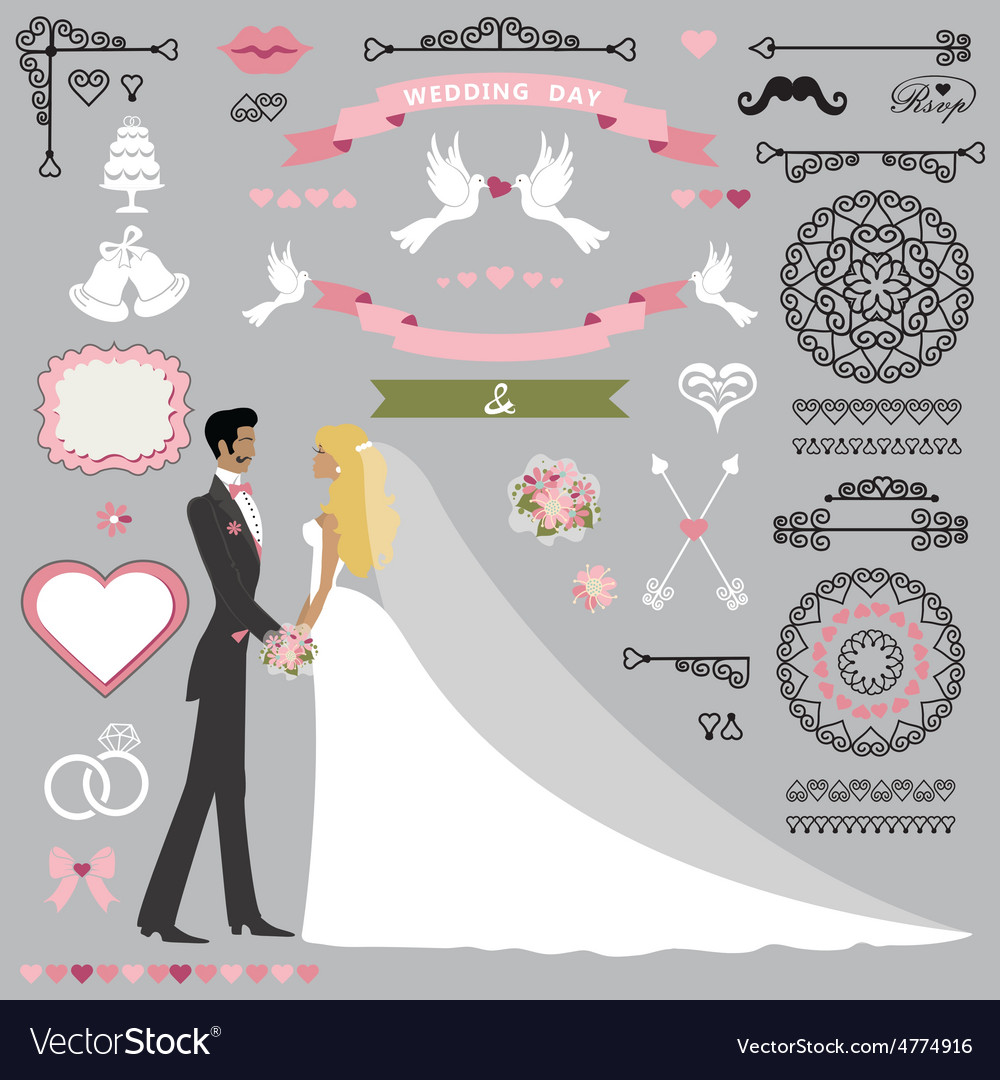 Wedding invitation decor set with kissing stand vector | Price: 1 Credit (USD $1)