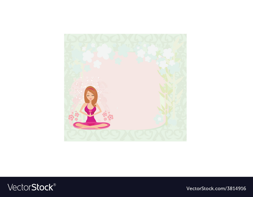 Yoga girl in lotus position abstract frame vector | Price: 1 Credit (USD $1)