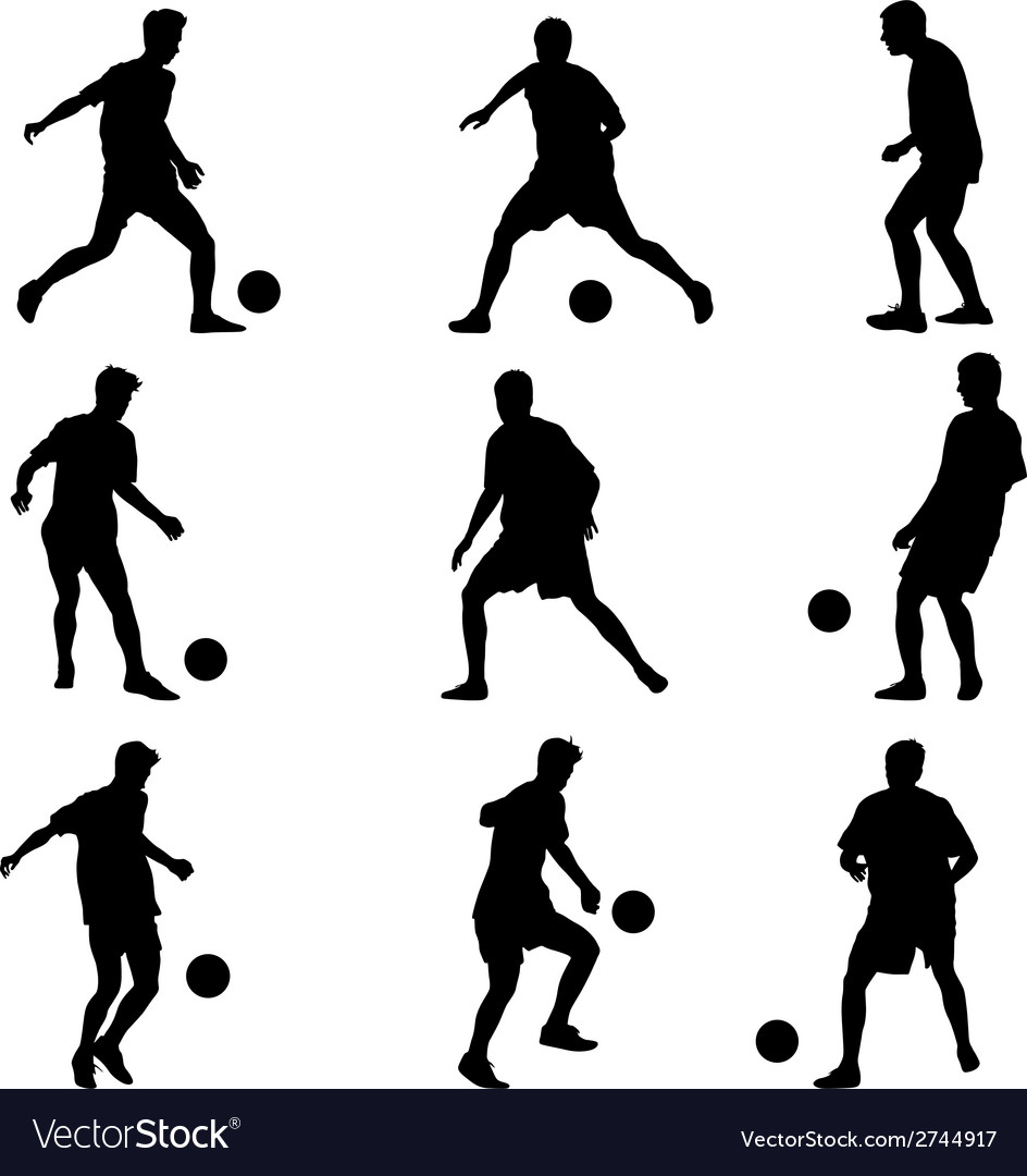 Different poses silhouettes of soccer players with vector | Price: 1 Credit (USD $1)