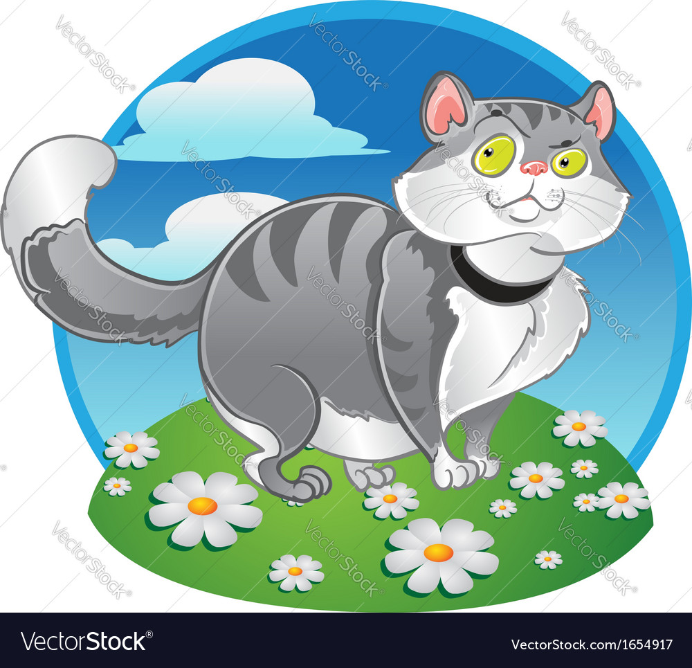 Grey fat cat on the color background vector | Price: 3 Credit (USD $3)